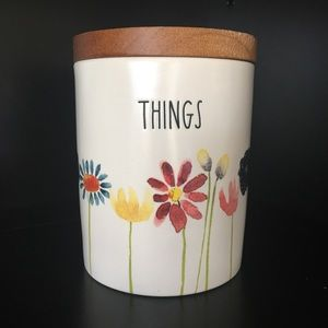 RAE DUNN Spring Flower THINGS canister wood lid
